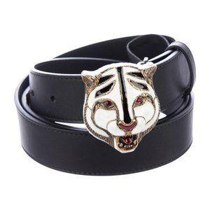 Gucci Ceramic Tiger Clasp Belt in Black